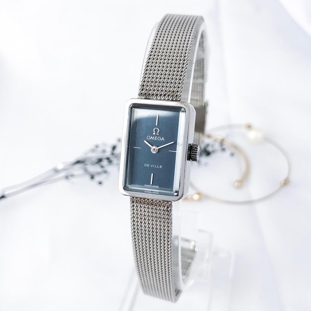 【OH済】オメガ OMEGA デビル スクエア シルバー ネイビー文字盤 レディース 腕時計 時計【中古】【送料無料】