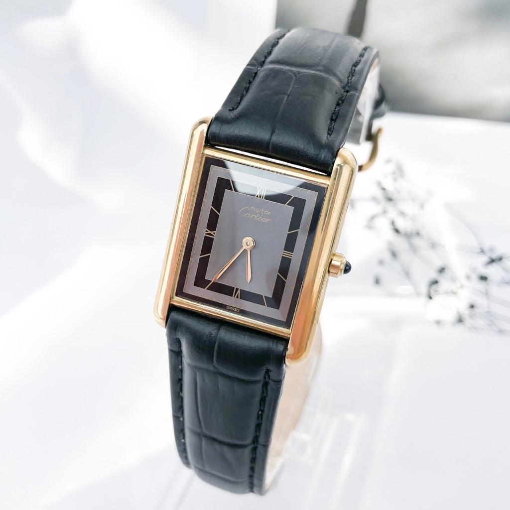 【OH済/ベルト新品】カルティエ タンク MM グレー文字盤 ベルト2色付 レディース 腕時計 時計 【中古】【送料無料】