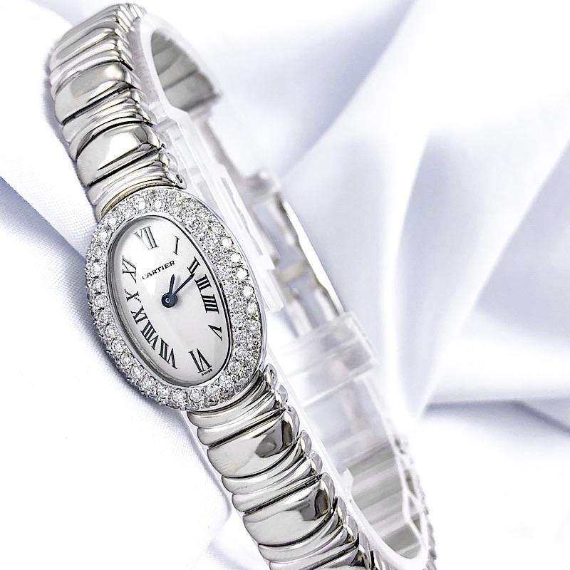 【保証書付】カルティエ CARTIER ミニベニュワール K18 WG ホワイトゴールド ダイヤ ダイヤモンド 鑑別書付 レディース 腕時計 時計【中古】【送料無料】
