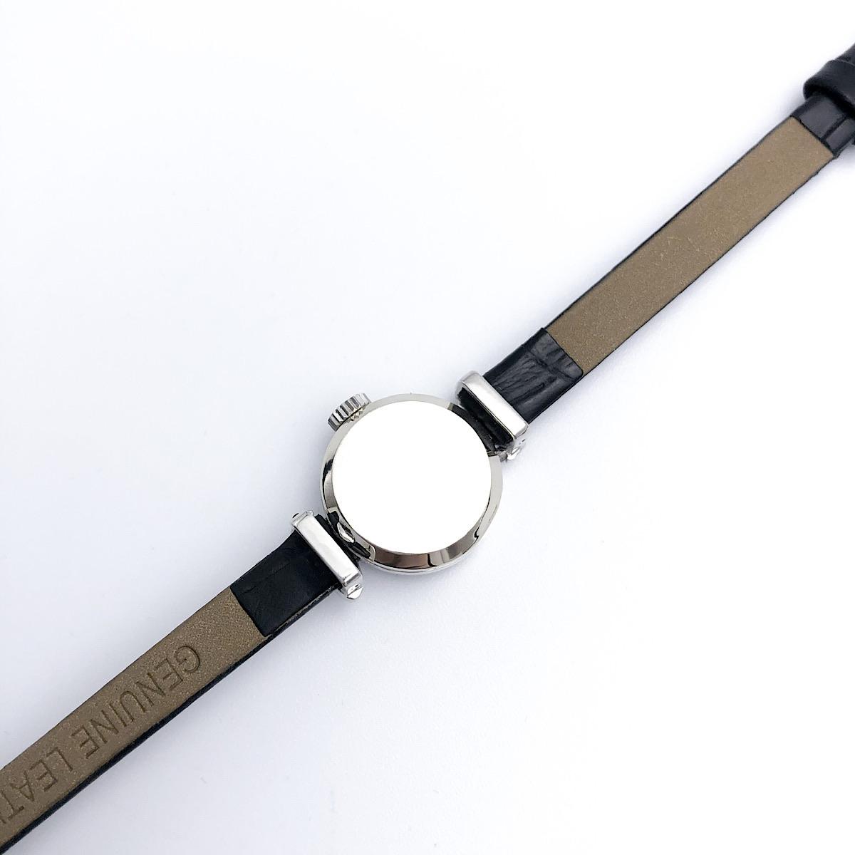 仕上済 OMEGA オメガ カットガラス K14WG 2Pダイヤ ダイヤモンド レディース 腕時計 時計 送料無料TJKc3lF1