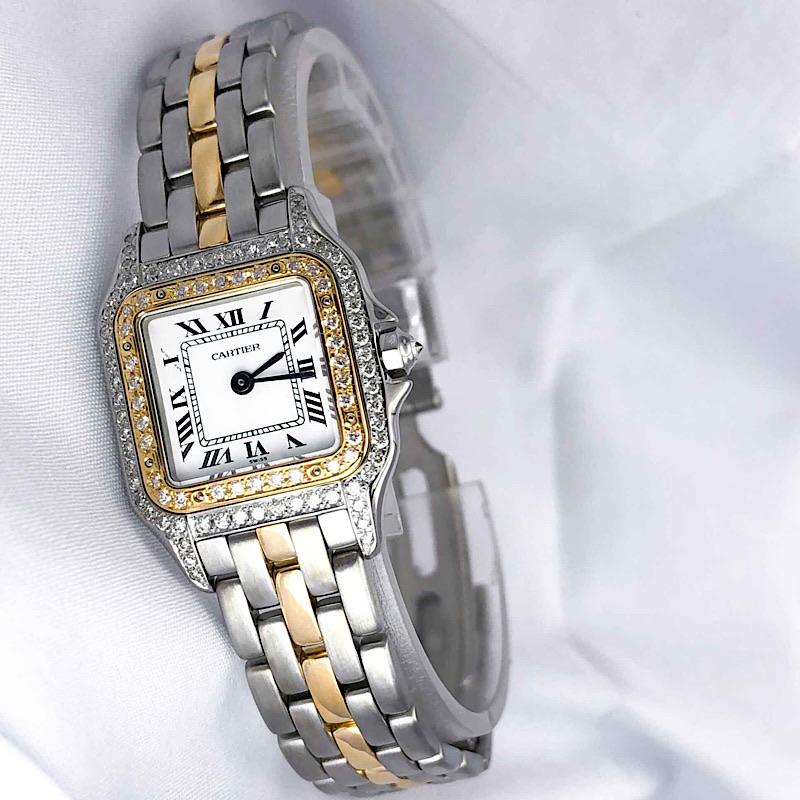 【保証書付】CARTIER カルティエ パンテール ダイヤ ダイヤモンド 1ロウ レディース 腕時計 時計【中古】【送料無料】