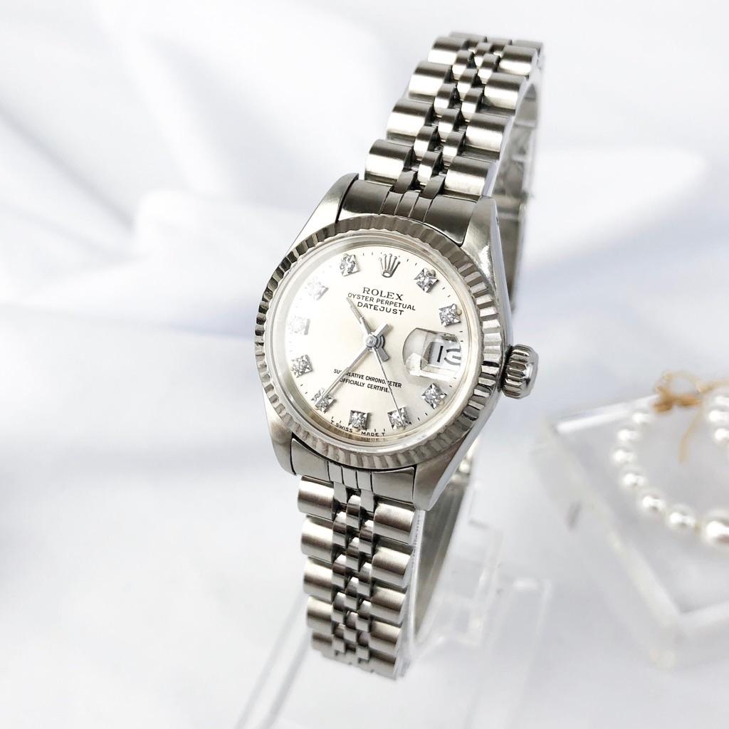 【保証書付/仕上済】ロレックス 10P デイトジャスト シルバー ダイヤ ダイヤモンド レディース 腕時計 時計 【中古】【送料無料】