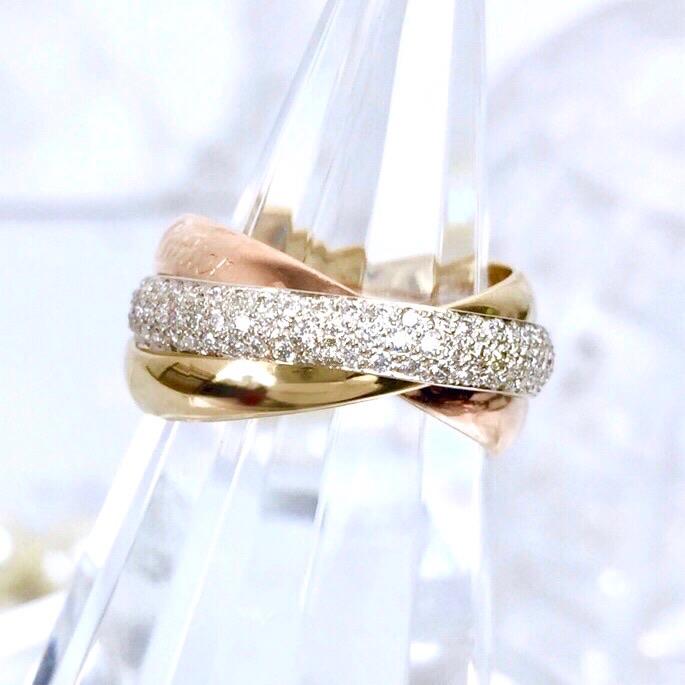 【仕上済】カルティエ トリニティ 18K 10号 ダイヤ ダイヤモンド WG PG YG レディース  リング 指輪 【中古】【送料無料】