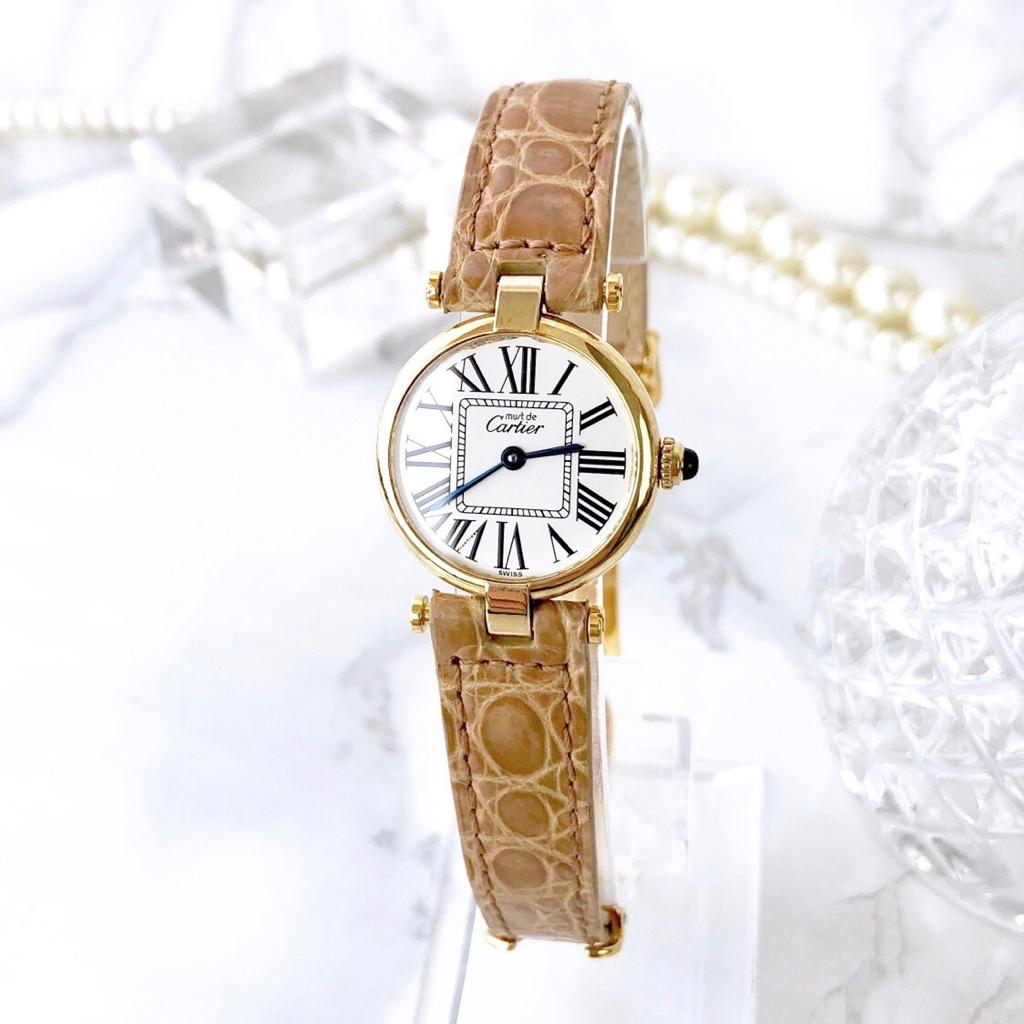 【仕上済】カルティエ ヴァンドーム ゴールド  ベルト2色付 レディース 腕時計 時計 【中古】【送料無料】