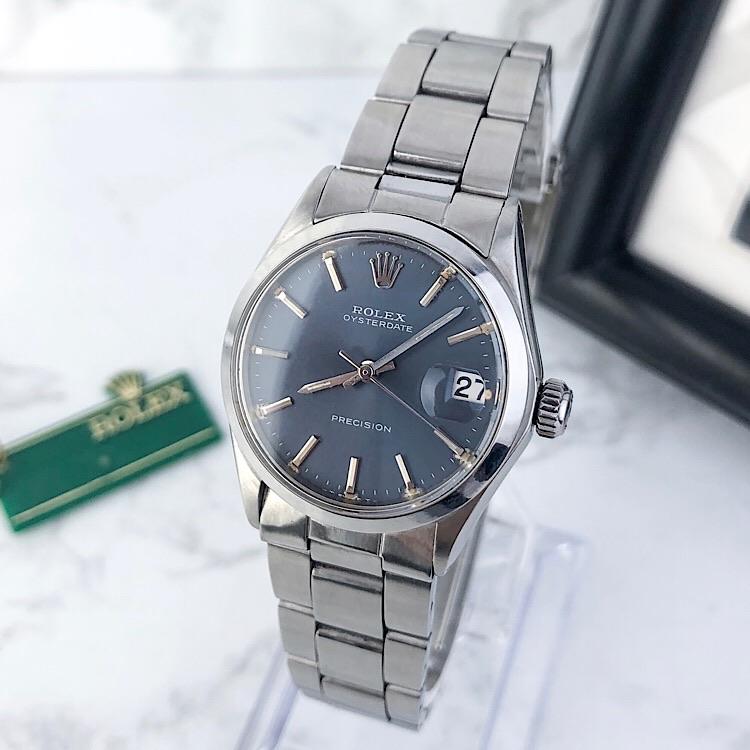 【仕上済】ロレックス ROLEX オイスター デイト ネイビー文字盤 シルバー メンズ 腕時計 時計【中古】【送料無料】