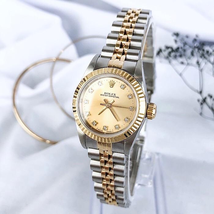 【保証書付/OH済】ロレックス 11P コンビ ダイヤ ダイヤモンド レディース 腕時計 時計 【中古】【送料無料】