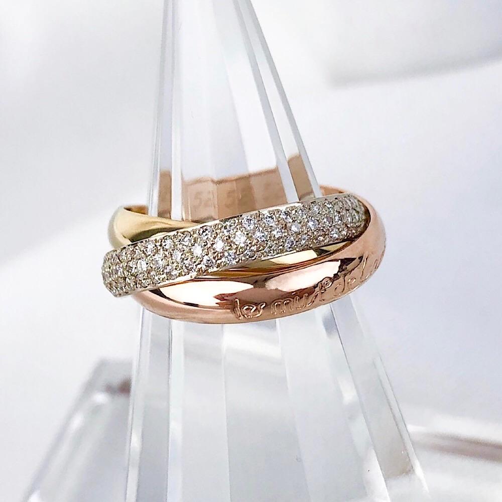 【保証書付/仕上済】カルティエ CAERIER トリニティ 12号 ダイヤ ダイヤモンド 鑑定書付 リング 指輪【中古】【送料無料】