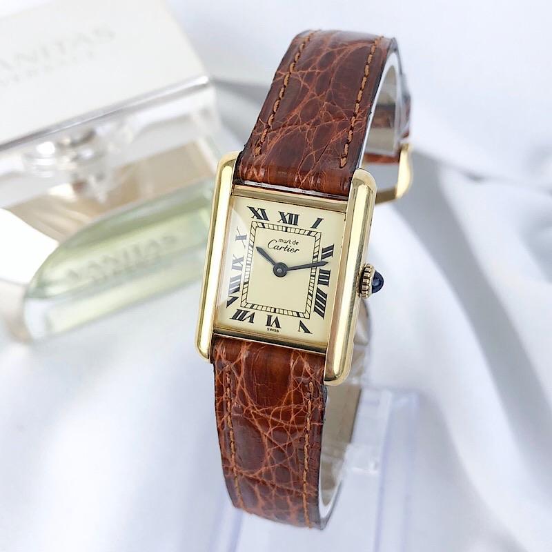 【仕上済】カルティエ タンク SM ゴールド ベルト2色付 レディース 腕時計 時計 【中古】【送料無料】