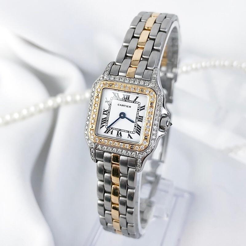 【保証書付/仕上済】カルティエ パンテール コンビ ダイヤ ダイヤモンド レディース 腕時計 時計 【中古】【送料無料】