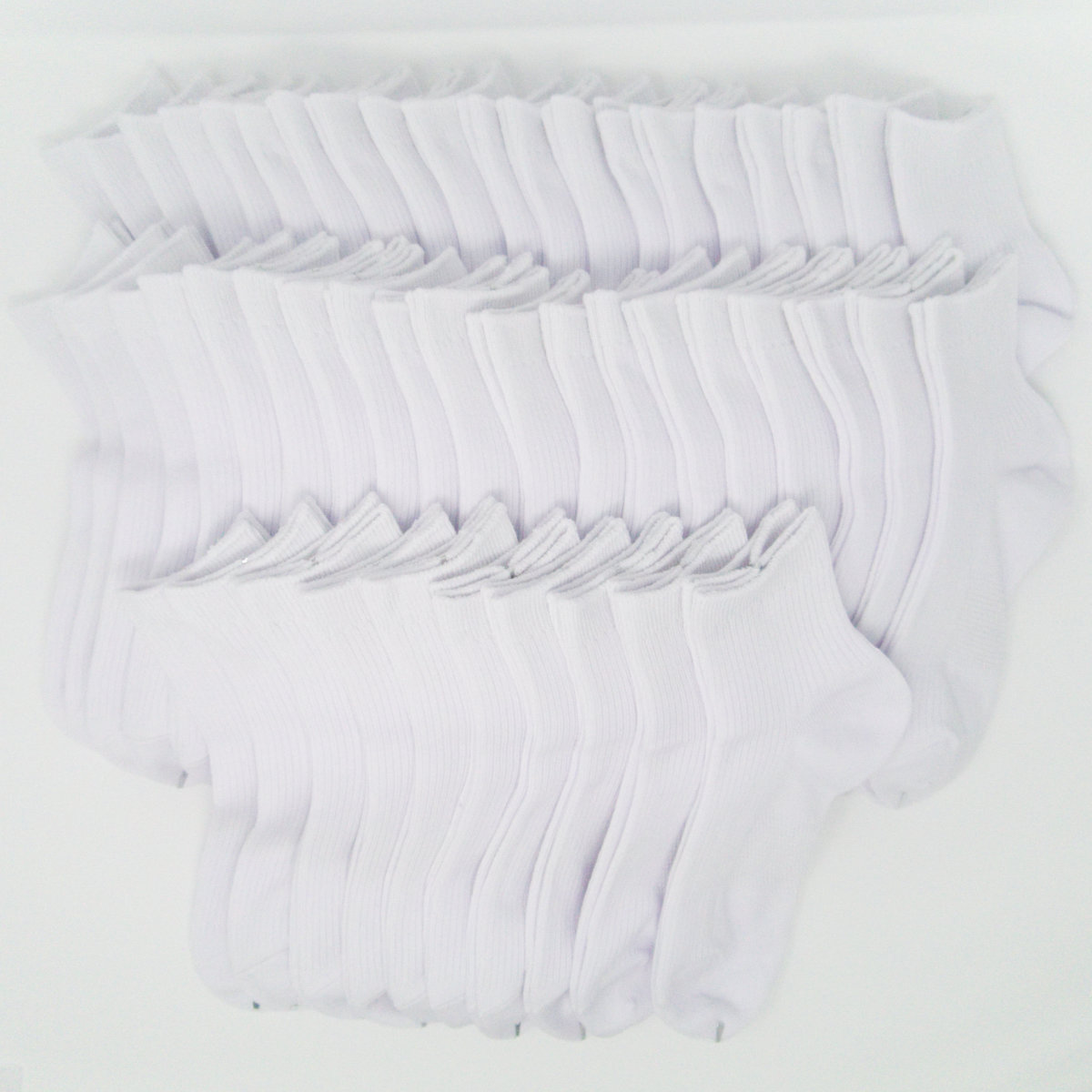 日本製 抗菌防臭加工 ホワイト サポーター ショートソックス 24~26cm Mサイズ 50足セット