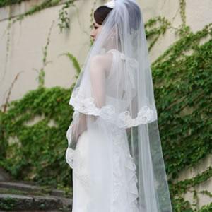 ウェディングベール ロングベール チャーム 280cm | ロング ベール ウェディング ウエディング ブライダル 結婚式 花嫁 オフホワイト アイボリー ウェディングドレス ヴェール レース 豪華 華やか