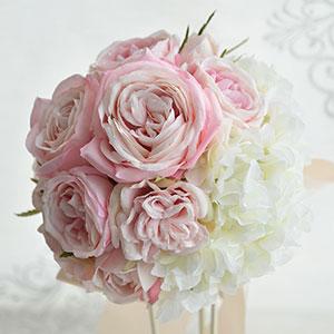 ウェディングブーケ 造花 ブーケ ピンク のカップローズと ホワイト アジサイ の ラウンドブーケ ブートニア セット | ウエディングブーケ ブライダルブーケ ウェディング ウエディング ブライダル ラウンド バラ あじさい 結婚式 おしゃれ 海外挙式 花嫁 前撮り 白