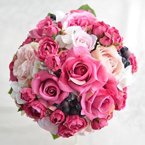 ウェディングブーケ 造花 ブーケ ビューティーローズとフリルローズの ラウンドブーケ ブートニア 付き   ウエディングブーケ ブライダルブーケ ウェディング ウエディング ブライダル ラウンド バラ 結婚式 ピンク おしゃれ 海外挙式 リゾート婚 花嫁 前撮り 上品