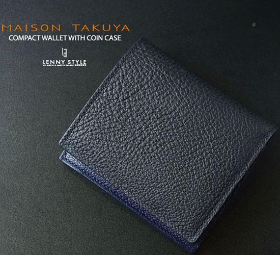 MAISON TAKUYA(メゾンタクヤ)小銭入れ付コンパクトウォレット(小銭入れ付二つ折り財布)ミッドナイトブルー×ミッドナイトブルー【送料無料】