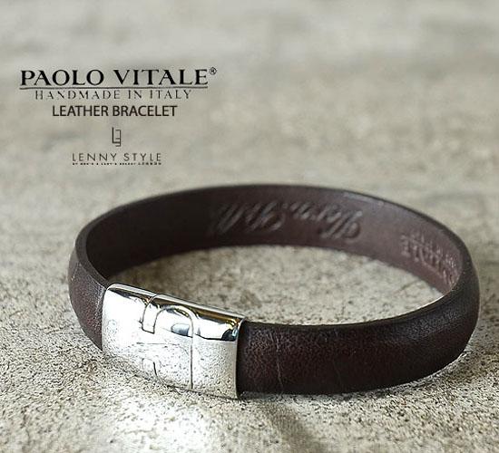 PAOLO VITALE (パオロヴィターレ)レザーブレスレット-ダークブラウン【送料無料】