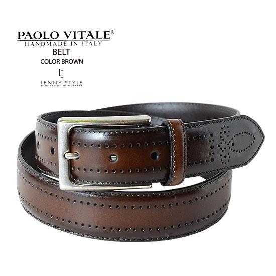 PAOLO VITALE (パオロヴィターレ)レザーベルト-ブラウン【送料無料】