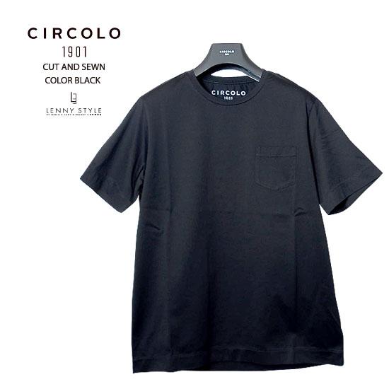 チルコロ1901(CIRCORO1901)半袖ポケットTシャツ-ブラック【送料無料】