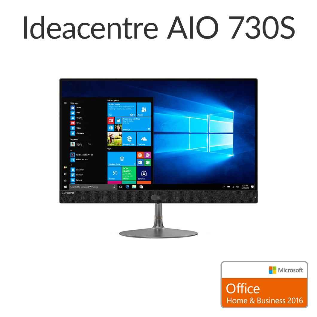 直販 デスクトップパソコン Officeあり:Lenovo ideacentre AIO 730S Corei5-8250U搭載(8GBメモリ/1TB HDD/23.8型 FHD液晶一体型/Microsoft Office Home & Business 2016/グレー)【送料無料】