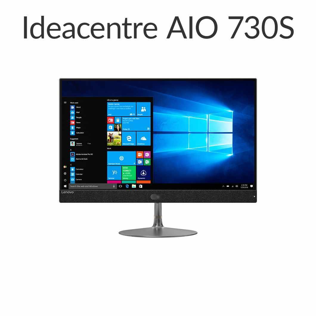 直販 デスクトップパソコン:Lenovo ideacentre AIO 730S Corei5-8250U搭載(8GBメモリ/1TB HDD/23.8型 FHD液晶一体型/Officeなし/グレー)【送料無料】