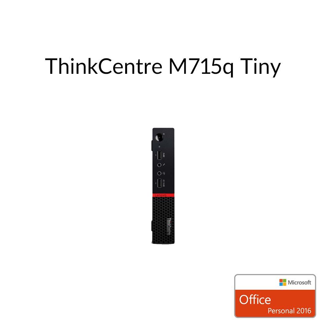 【エントリーでP10倍!4月16日01:59まで】直販 デスクトップパソコン Officeあり:ThinkCentre M715q Tiny AMD PRO A6搭載モデル(4GBメモリ/500GB HDD/モニタなし/Microsoft Office Personal 2016/Windows10)【送料無料】