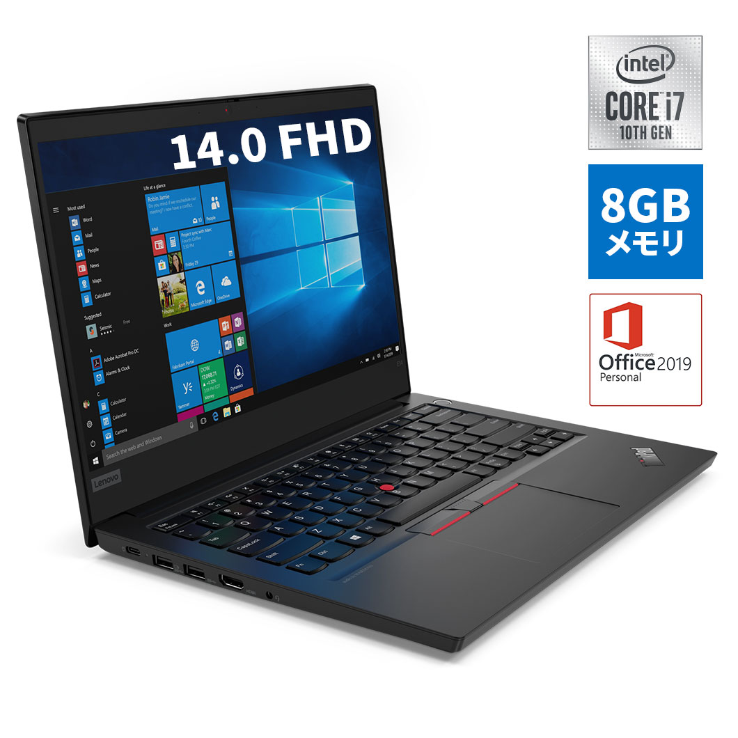 直販 ノートパソコン Officeあり:Lenovo ThinkPad E14 Core i7-10510U搭載モデル(14.0型 FHD/8GBメモリー/256GB SSD/Windows10/Microsoft Office Personal 2019)【送料無料】