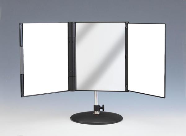 360度回転する三面鏡 横顔も頭のてっぺんも良く見えます Made in WEB限定 Japan 東京セイル母の日父の日プレゼント 360度回転 卓上型スタンド付三面鏡セイルミラーMX-360ZS新型スリーウェイミラーメイク白髪染めMade 日本製 お買得