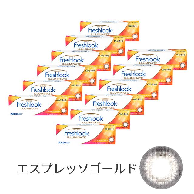 フレッシュルックデイリーズイルミネート(エスプレッソゴールド) 12箱セット 30枚入り 度あり 1day フチあり カラコン