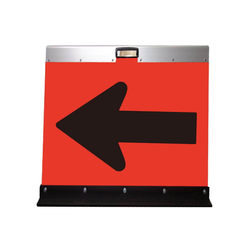 アルミ製山型矢印板(方向指示板)H500×W450(超高輝度プリズム)蛍光オレンシ゛地/黒矢印