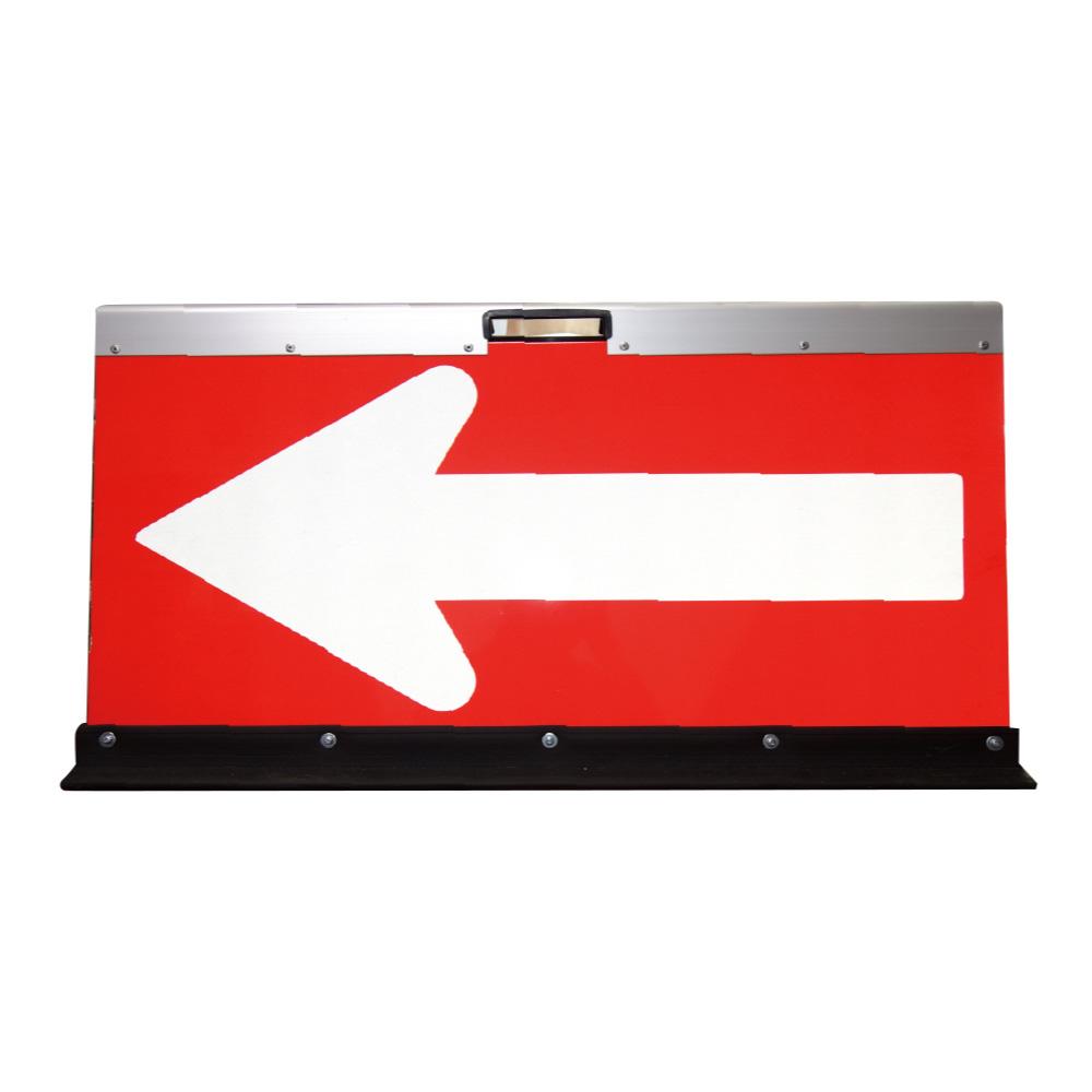 送料無料 アルミ製山型矢印板(方向指示板)H500×W900(反射)赤地/白矢印【2枚セット】