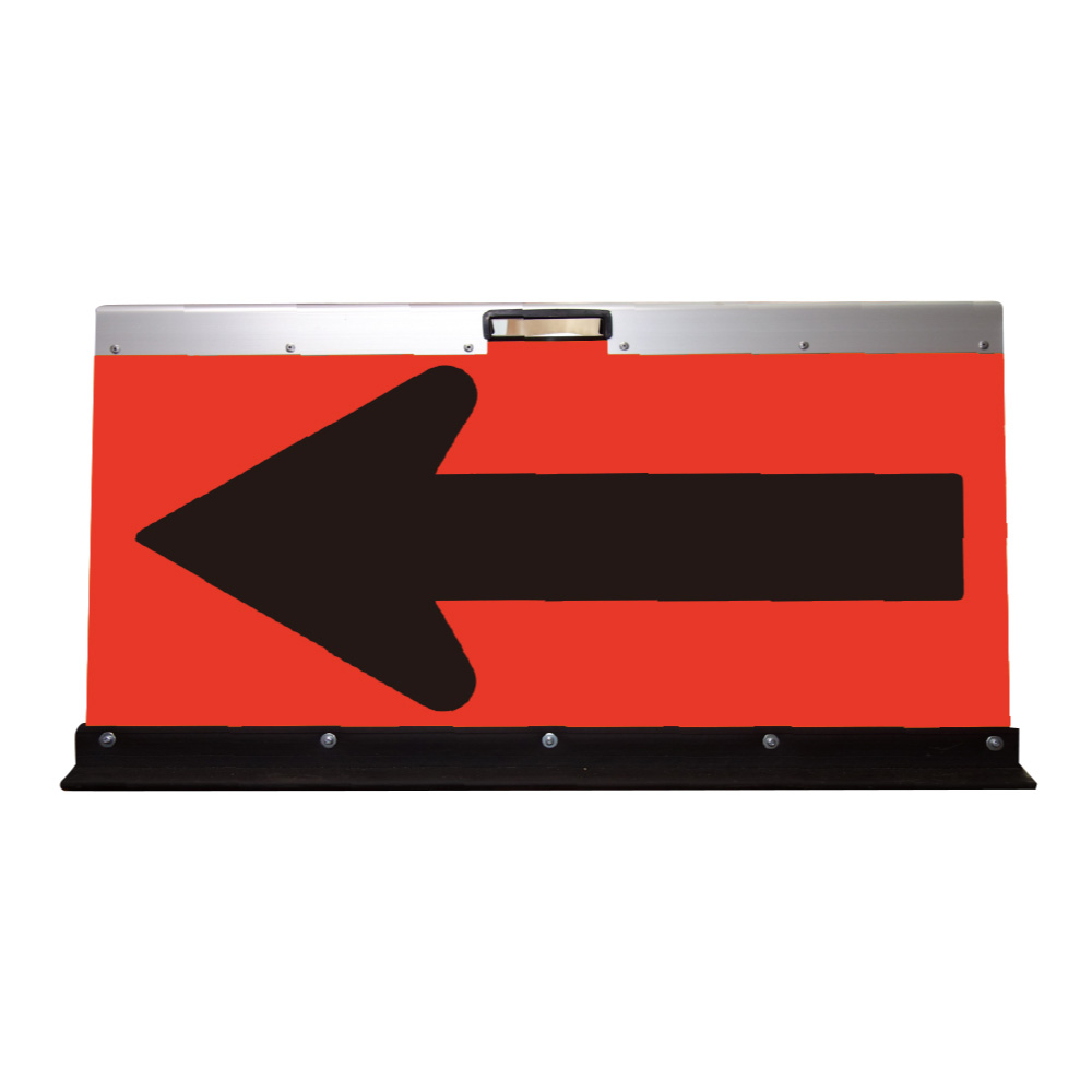 アルミ製山型矢印板(方向指示板)H500×W900(超高輝度プリズム)蛍光オレンシ゛地/黒矢印