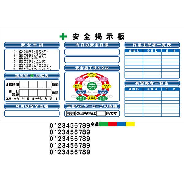 AMK1806 安全掲示板ミニ 900×1800(スーパーフラット掲示板)【送料無料】