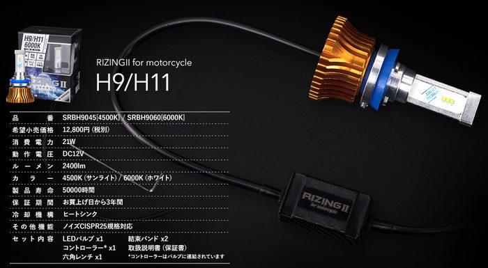 4月28日AM1時59分まで!お買物マラソン!ポイント5倍!ダブルエントリーで最大15倍!! SPHERE LIGHT (スフィアライト) RIZING 2 (RIZING2 ライジング2) LED ヘッドライト H9/H11 4500K SRBH9045 (返品 交換 キャンセル不可商品)