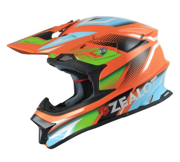 ゴッドブリンク ZEALOT (ジーロット ゼロット) Mad Jumper (マッドジャンパー) ヘルメット グラフィック オレンジ/ブルー (SG規格) (返品 交換 キャンセル不可商品)