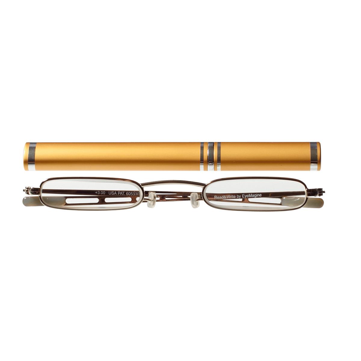 【老眼鏡】スレンダーアイズチューブ ゴールド(ゴールドケース)【アイマジン EYEMAGINE】【男性】【女性】【おしゃれ】【コンパクト】