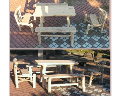 流木アートのレットイットビーの大型流木ダイニング5点セット ka69 流木インテリア店舗家具セット