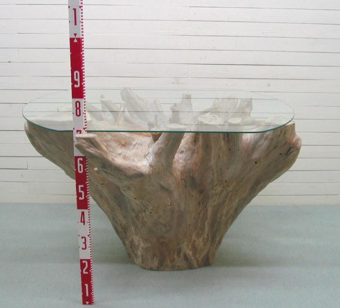 流木アートのレットイットビーの大型ガラステーブル用切り株流木 ka88 オリジナル流木インテリア家具