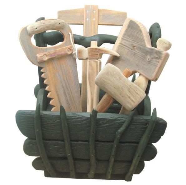 流木ツールボックス(カーペンターツール グリーン系)オブジェ lc28 ガーデン・インテリア・店舗家具用品【送料無料】