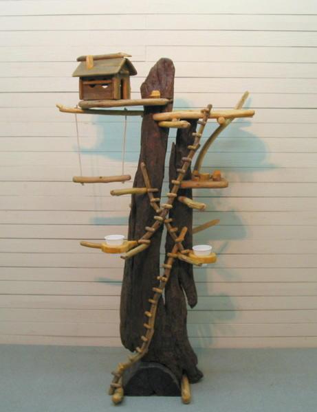 大型流木バードジム(ツリーハウスオブジェな止まり木タワースタンド)[pb22]