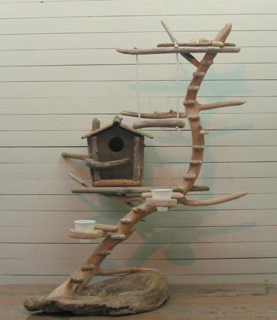 大型流木バードジム(ツリーハウスオブジェな止まり木スタンド)[pb24]