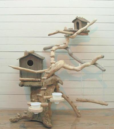 大型流木バードジム(ツリーハウスオブジェな止まり木スタンド)[pb25]