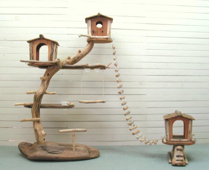 オリジナル大型流木バードジムツインタワースタンド 縄はしご付き pb35 オリジナル流木ペット用品:流木アートのレットイットビー