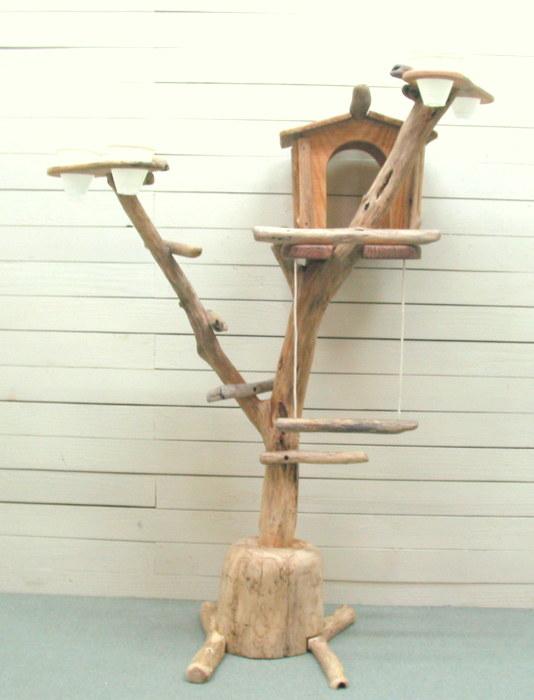 オリジナル大型流木バードジムタワースタンド pb37 オリジナル流木ペット用品