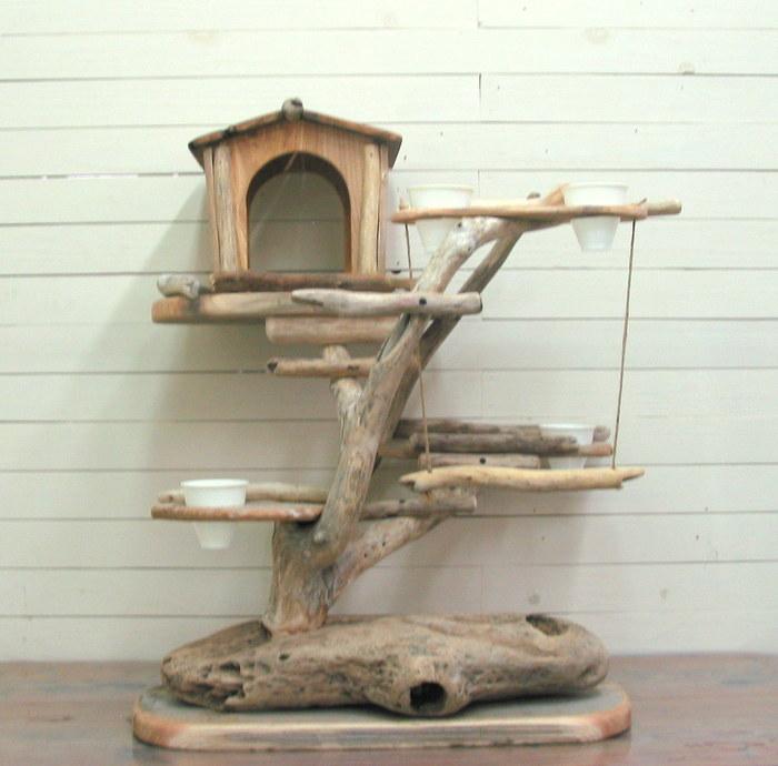 流木バードジム pb38 オリジナル流木ペット用品