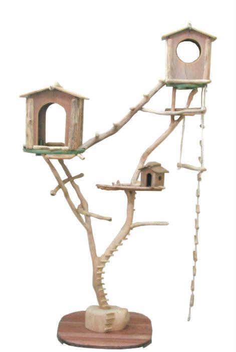 オリジナル大型流木バードジムスタンド(ツリーハウスオブジェタイプ)pb66 オリジナル流木ペット用品鳥用品:流木アートのレットイットビー