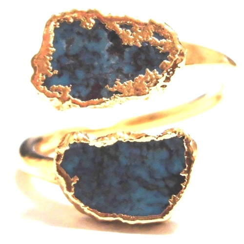 LUXDIVINE ラックスディバイン ターコイズリング 約16号~17号 Turquoise Wrap Ring 35 トルコ石 ゴールドメッキ トルコストーン 指輪 天然石 ハンドメイド 一点もの レディース 螺旋状アーム 記念日 誕生日 プレゼント ゴールドリング 海外 ブランド