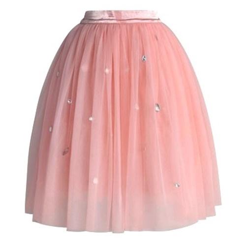 セール Chicwish ピンクチュールスカート 透け感 かわいい シックウィッシュ Diamonds in My Heart Pink Tulle Skirt 膝丈 ひざ丈 みもれ ロリータファッション 無地 装飾 ウエスト一部ゴム おしゃれ キラキラ 可愛い 淡い色 海外ブランド 在庫のみ