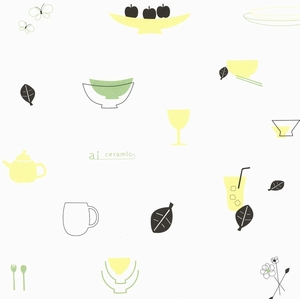 【ラッピング】包装紙 食器のイラスト