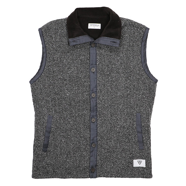 (リバーサル) REVERSAL OCEANS CABLE KNIT & FLEECE VEST (JACKET)(rvsf16aw003-C.BK) ジャケット アウター 国内正規品