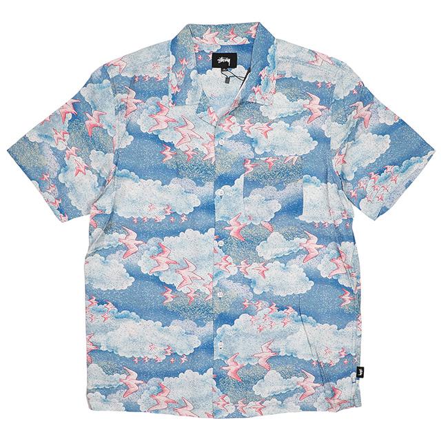 (ステューシー) STUSSY CLOUD AND BIRDS SHIRT (SS:SHIRT)(11197-BL) シャツ 半袖 オープンカラーシャツ 国内正規品