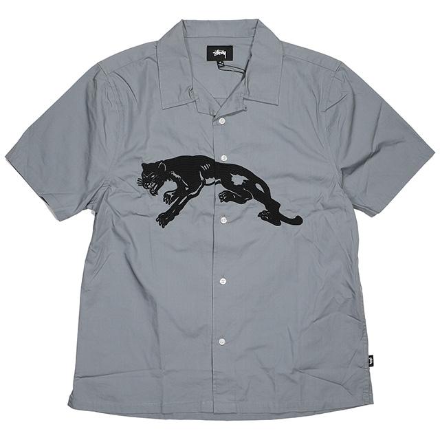 (ステューシー) STUSSY PANTHER SHIRT (SS:SHIRT)(111974-GR) シャツ 半袖 オープンカラーシャツ 国内正規品
